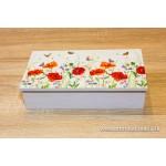 Krabička na čaj, šperkovnica 8-priehradková- maky- motýle
